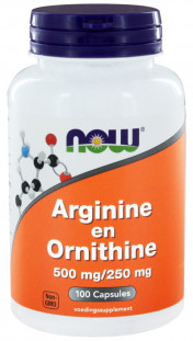 NOW Arginine & Ornithine 500 мг/250 мг (100 кап)